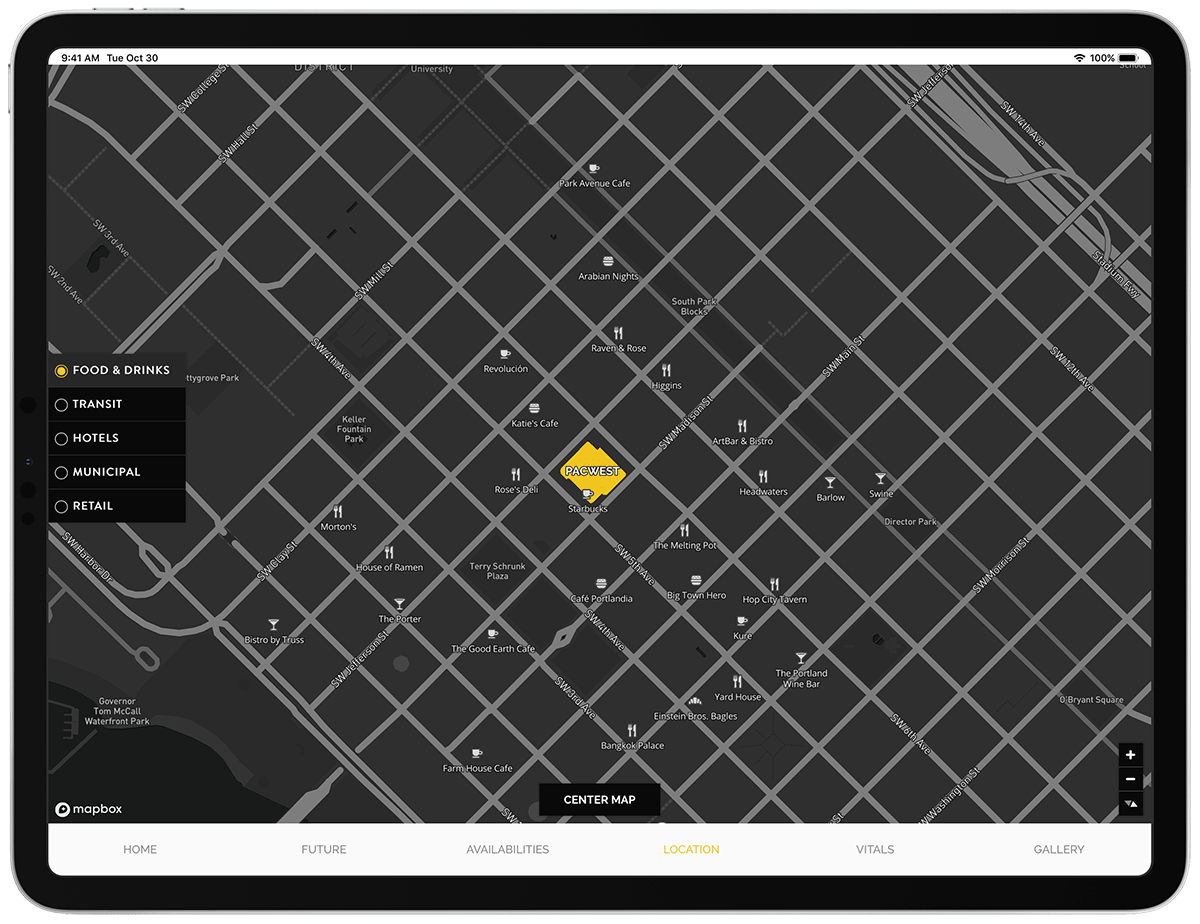 Interactive map highlighting amenities in the area using Mapbox